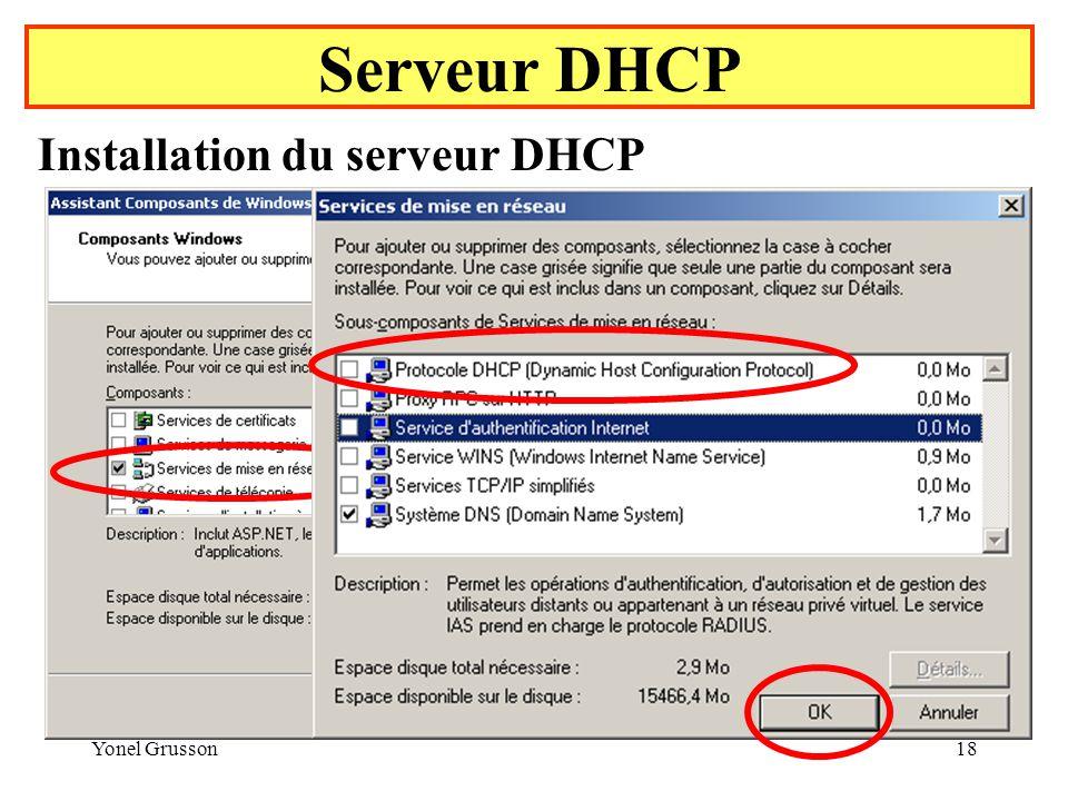 Yonel Grusson18 Serveur DHCP Installation du serveur DHCP