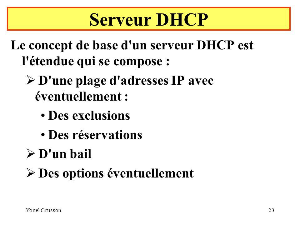 Yonel Grusson23 Serveur DHCP Le concept de base d un serveur DHCP est l étendue qui se compose : D une plage d adresses IP avec éventuellement : Des exclusions Des réservations D un bail Des options éventuellement