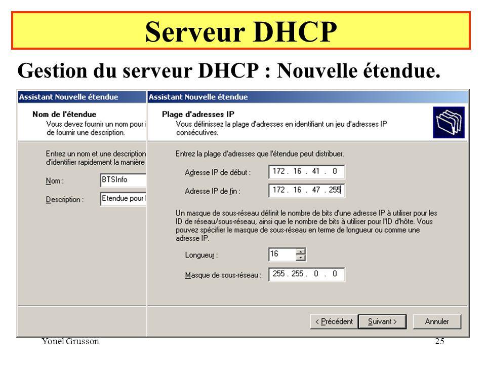 Yonel Grusson25 Serveur DHCP Gestion du serveur DHCP : Nouvelle étendue.