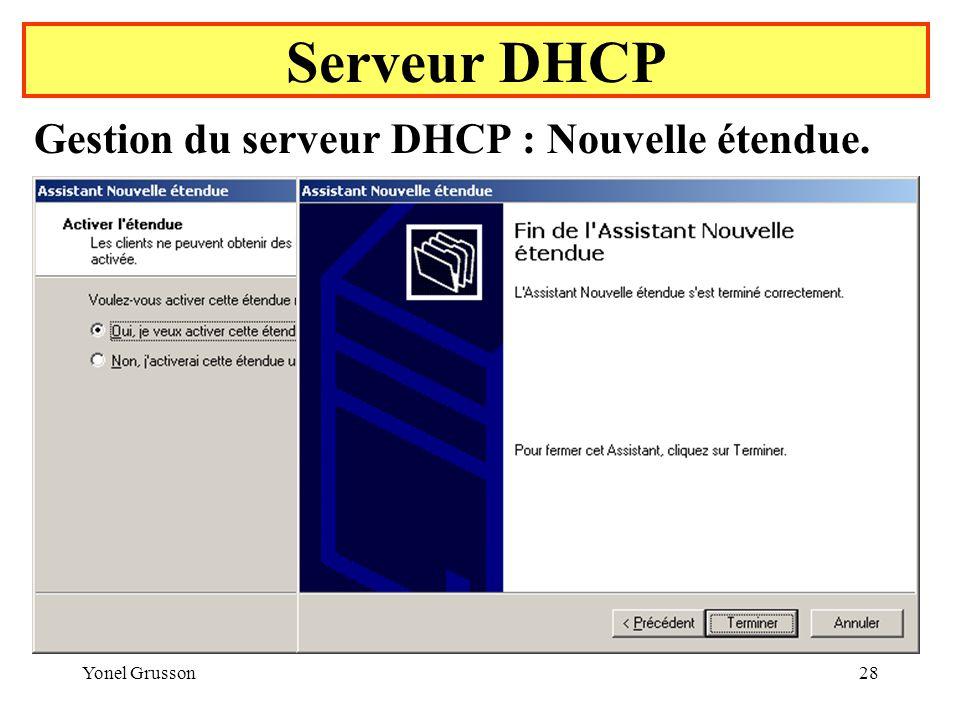 Yonel Grusson28 Serveur DHCP Gestion du serveur DHCP : Nouvelle étendue.