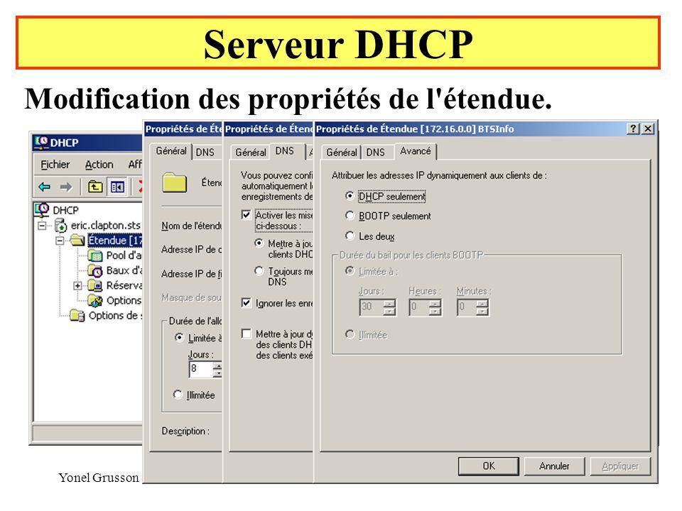 Yonel Grusson31 Serveur DHCP Modification des propriétés de l étendue.