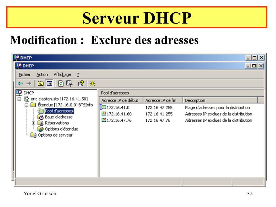 Yonel Grusson32 Serveur DHCP Modification : Exclure des adresses Exclure une plage d adresses Exclure une adresse