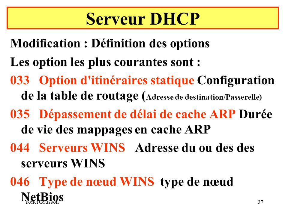 Yonel Grusson37 Serveur DHCP Modification : Définition des options Les option les plus courantes sont : 033Option d itinéraires statique Configuration de la table de routage ( Adresse de destination/Passerelle) 035Dépassement de délai de cache ARP Durée de vie des mappages en cache ARP 044Serveurs WINS Adresse du ou des des serveurs WINS 046Type de nœud WINS type de nœud NetBios