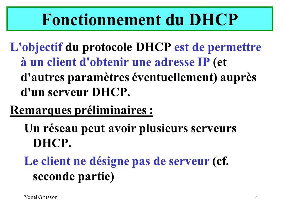 Yonel Grusson55 La configuration IP obtenue par un client Windows n apparaît pas dans l interface graphique elle peut être visualisée avec la commande IPCONFIG : IPCONFIG –ALL : Affiche toutes les informations de la configuration TCP/IP IPCONFIG –RELEASE : Supprime les informations de la configuration TCP/IP IPCONFIG -RENEW : Renouvelle les informations de la configuration TCP/IP Les options RELEASE et RENEW peuvent s appliquer à toutes ou à certaines interfaces Client DHCP