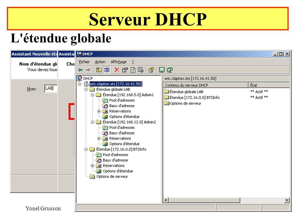 Yonel Grusson42 Serveur DHCP L étendue globale