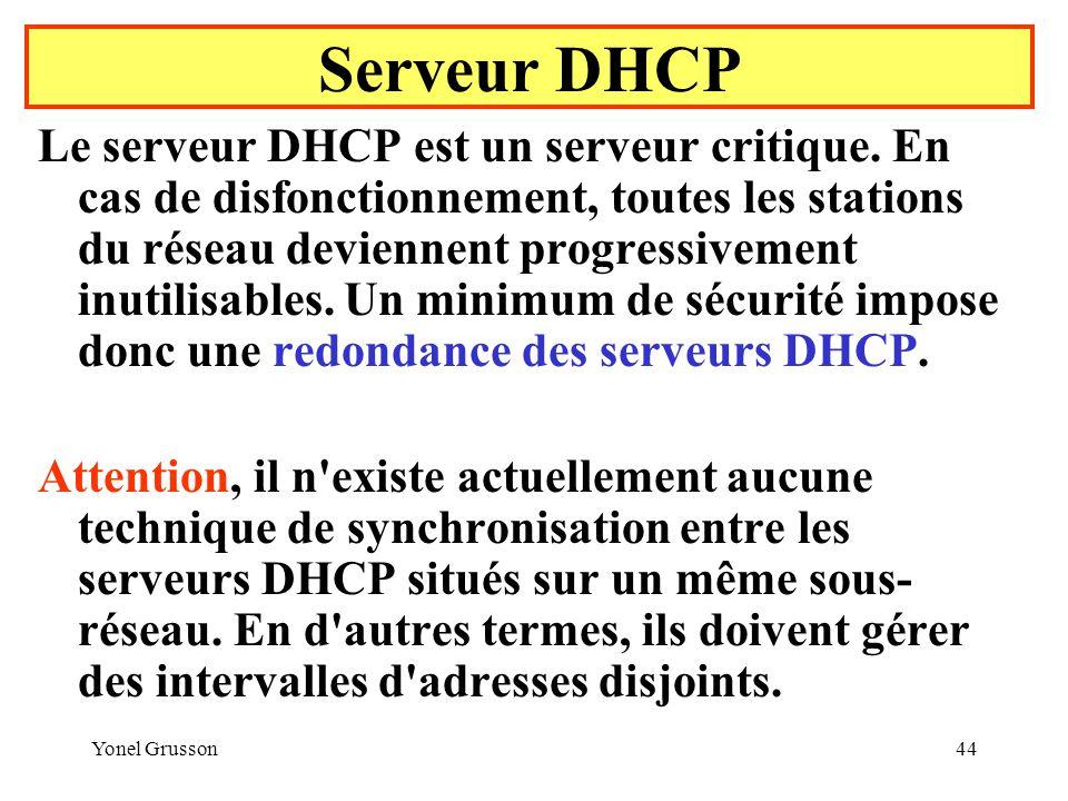 Yonel Grusson44 Le serveur DHCP est un serveur critique.