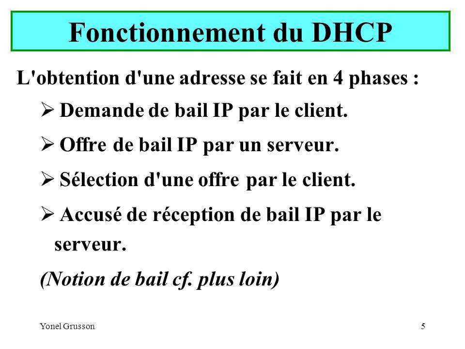 Yonel Grusson5 Fonctionnement du DHCP L obtention d une adresse se fait en 4 phases : Demande de bail IP par le client.
