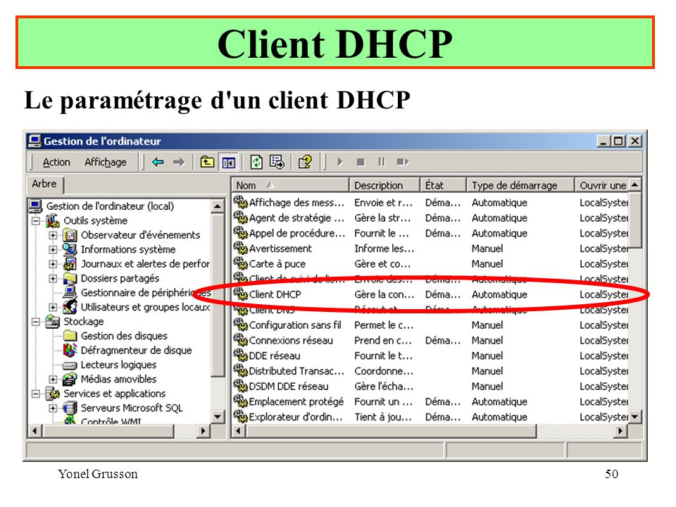 Yonel Grusson50 Client DHCP Le paramétrage d un client DHCP
