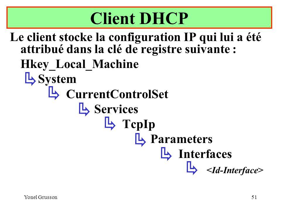 Yonel Grusson51 Le client stocke la configuration IP qui lui a été attribué dans la clé de registre suivante : Hkey_Local_Machine System CurrentControlSet Services TcpIp Parameters Interfaces Client DHCP
