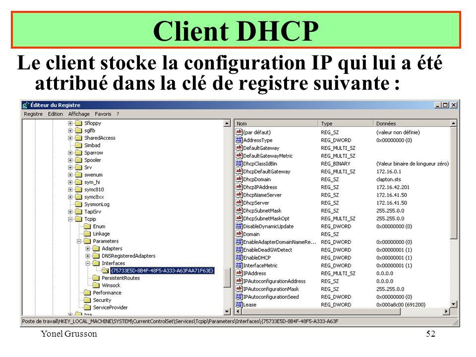 Yonel Grusson52 Le client stocke la configuration IP qui lui a été attribué dans la clé de registre suivante : Client DHCP