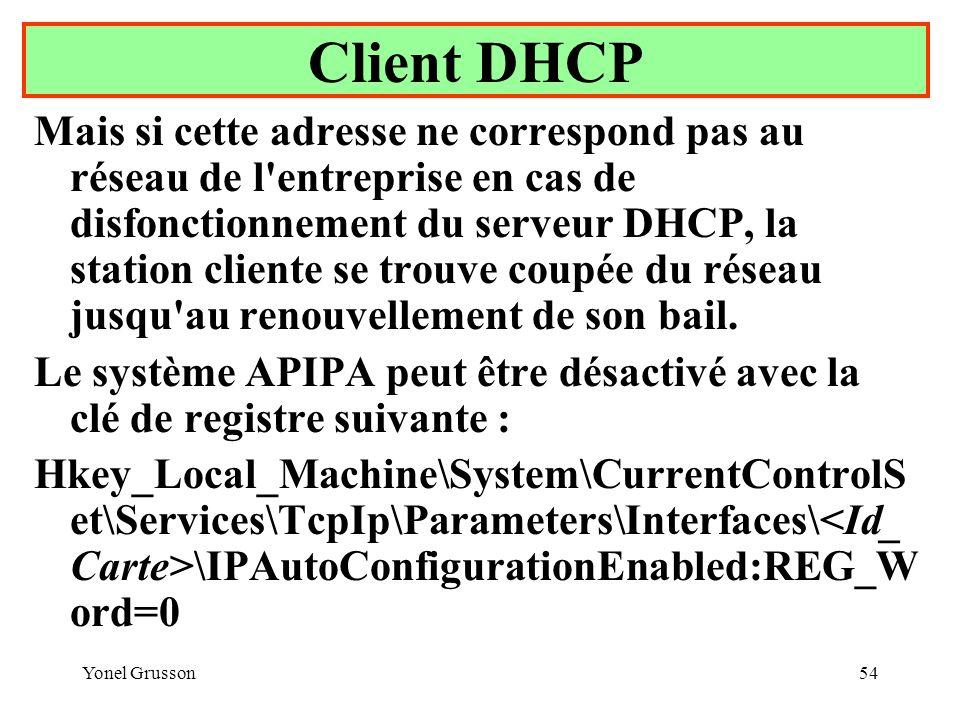 Yonel Grusson54 Client DHCP Mais si cette adresse ne correspond pas au réseau de l entreprise en cas de disfonctionnement du serveur DHCP, la station cliente se trouve coupée du réseau jusqu au renouvellement de son bail.