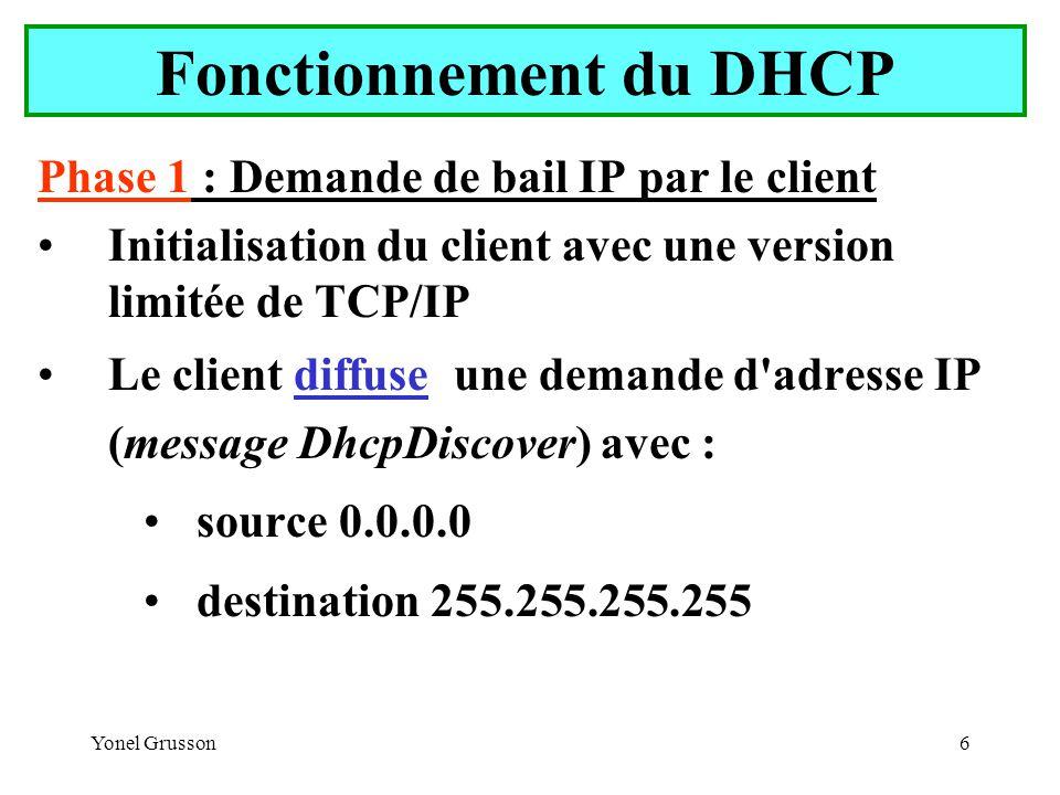 Yonel Grusson6 Fonctionnement du DHCP Phase 1 : Demande de bail IP par le client Initialisation du client avec une version limitée de TCP/IP Le client diffuse une demande d adresse IP (message DhcpDiscover) avec : source 0.0.0.0 destination 255.255.255.255