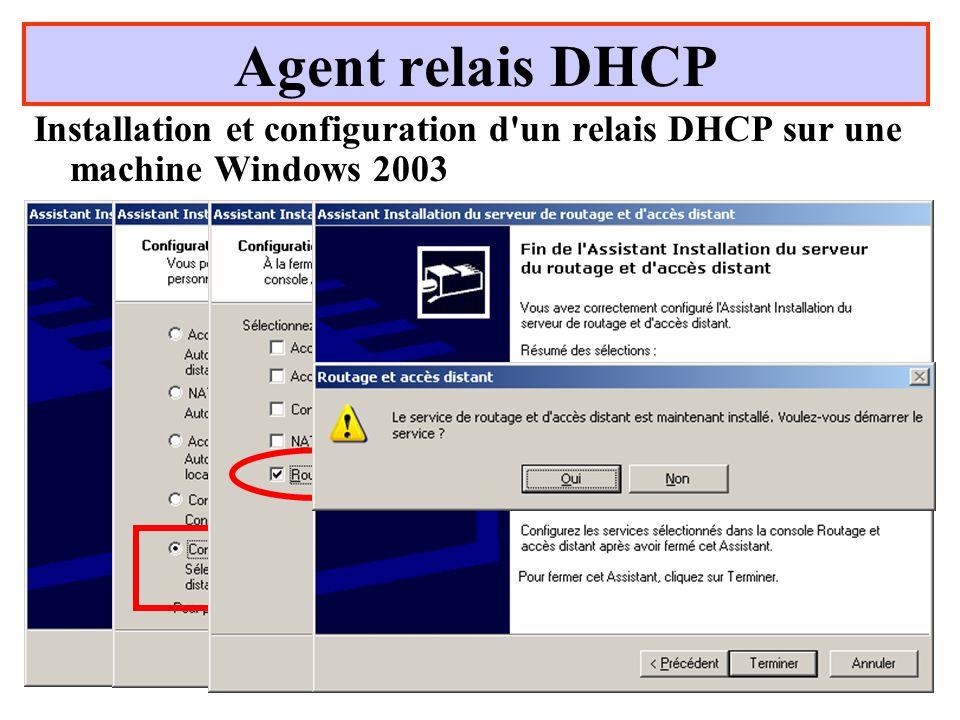 Yonel Grusson64 Agent relais DHCP Installation et configuration d un relais DHCP sur une machine Windows 2003