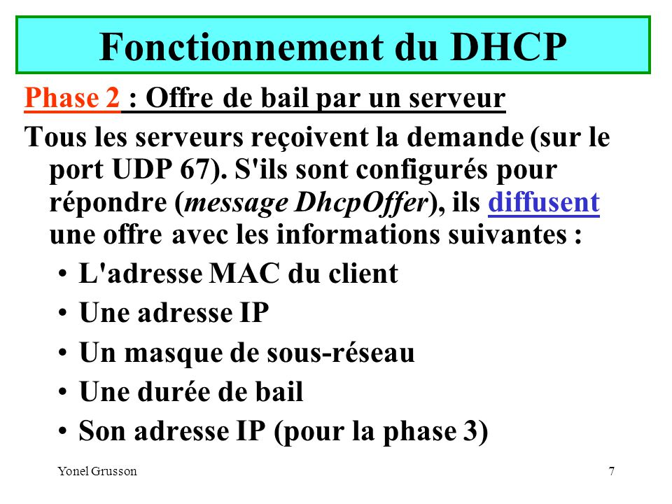 Yonel Grusson7 Fonctionnement du DHCP Phase 2 : Offre de bail par un serveur Tous les serveurs reçoivent la demande (sur le port UDP 67).