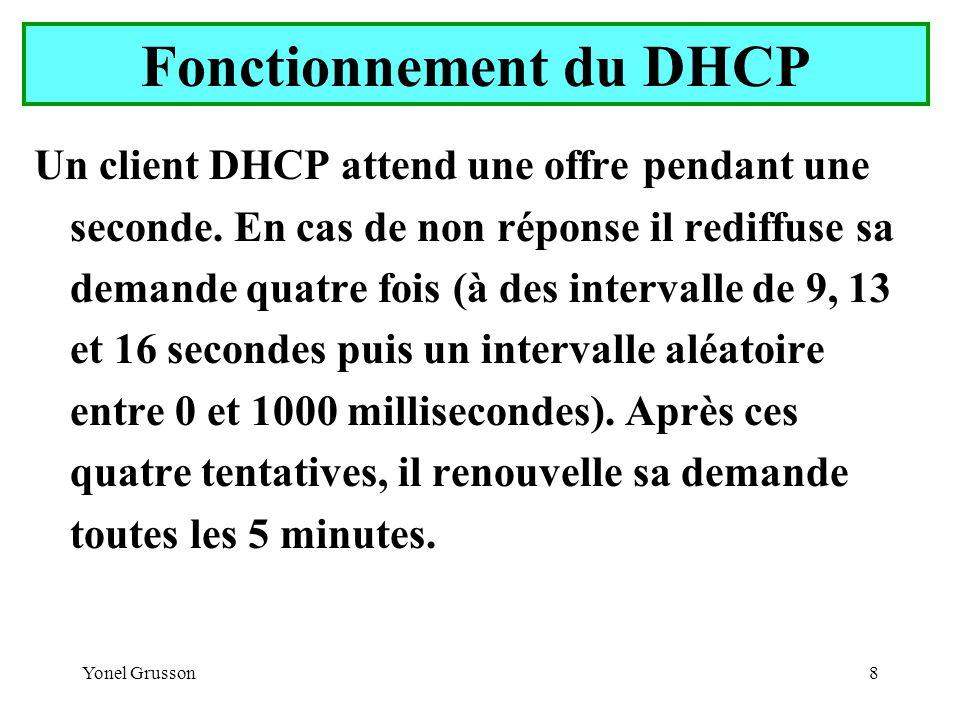 Yonel Grusson9 Fonctionnement du DHCP Phase 3 : Sélection d un bail par le client Le client sélectionne une offre (en général la première) Le client annonce par diffusion qu il a accepté une offre (message DhcpRequest).