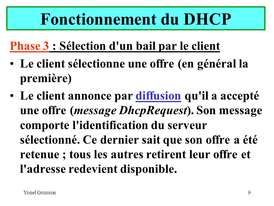 Yonel Grusson30 Serveur DHCP Résultat de cette première configuration (derrière l interface) : Le serveur DHCP utilise une base de donnée dhcp.mdb située dans le répertoire \%systemroot%\system32\dhcp.