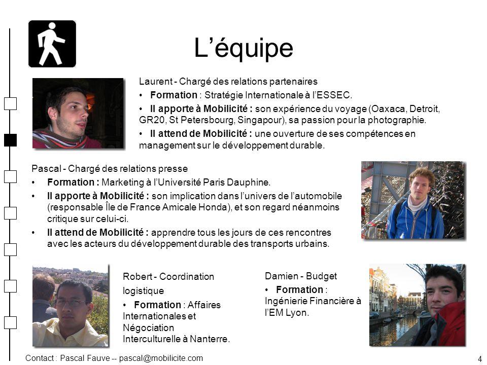 Contact : Pascal Fauve -- pascal@mobilicite.com 4 Léquipe Pascal - Chargé des relations presse Formation : Marketing à lUniversité Paris Dauphine. Il