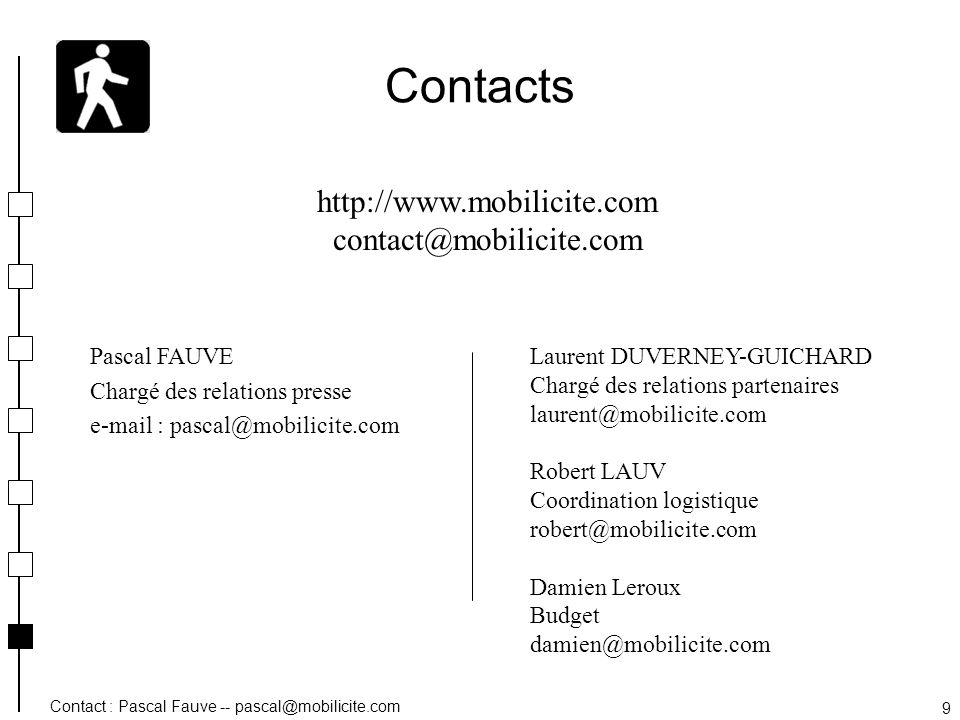 Contact : Pascal Fauve -- pascal@mobilicite.com 9 Contacts Pascal FAUVE Chargé des relations presse e-mail : pascal@mobilicite.com http://www.mobilici