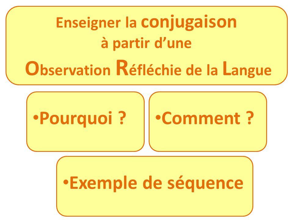 Pourquoi ? Comment ? Exemple de séquence Enseigner la conjugaison à partir dune O bservation R éfléchie de la L angue