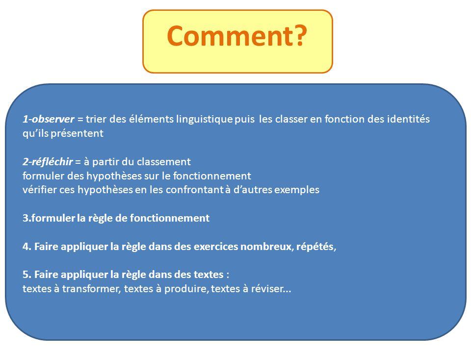 Comment? 1-observer = trier des éléments linguistique puis les classer en fonction des identités quils présentent 2-réfléchir = à partir du classement