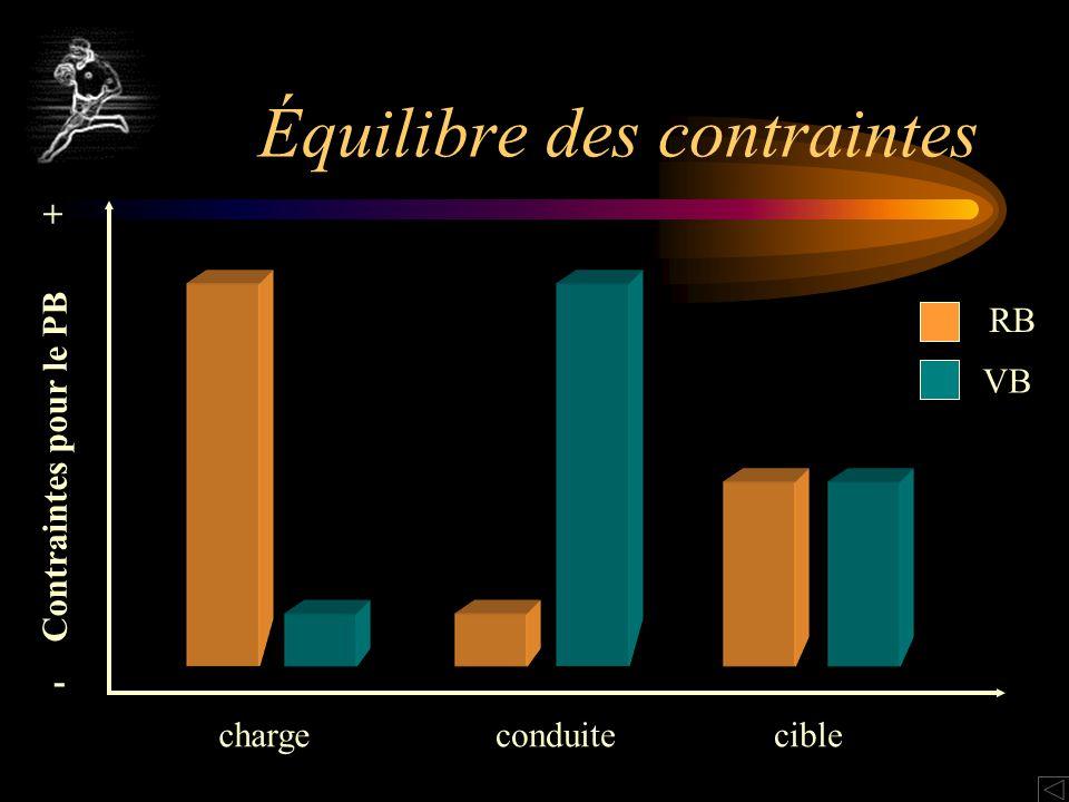 RB VB - + Contraintes pour le PB chargeconduitecible Équilibre des contraintes
