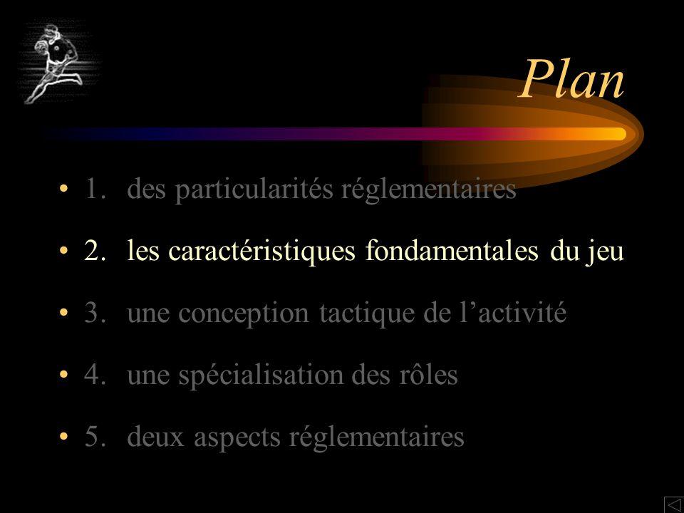 Plan 1.des particularités réglementaires 2.les caractéristiques fondamentales du jeu 3.une conception tactique de lactivité 4.une spécialisation des rôles 5.deux aspects réglementaires