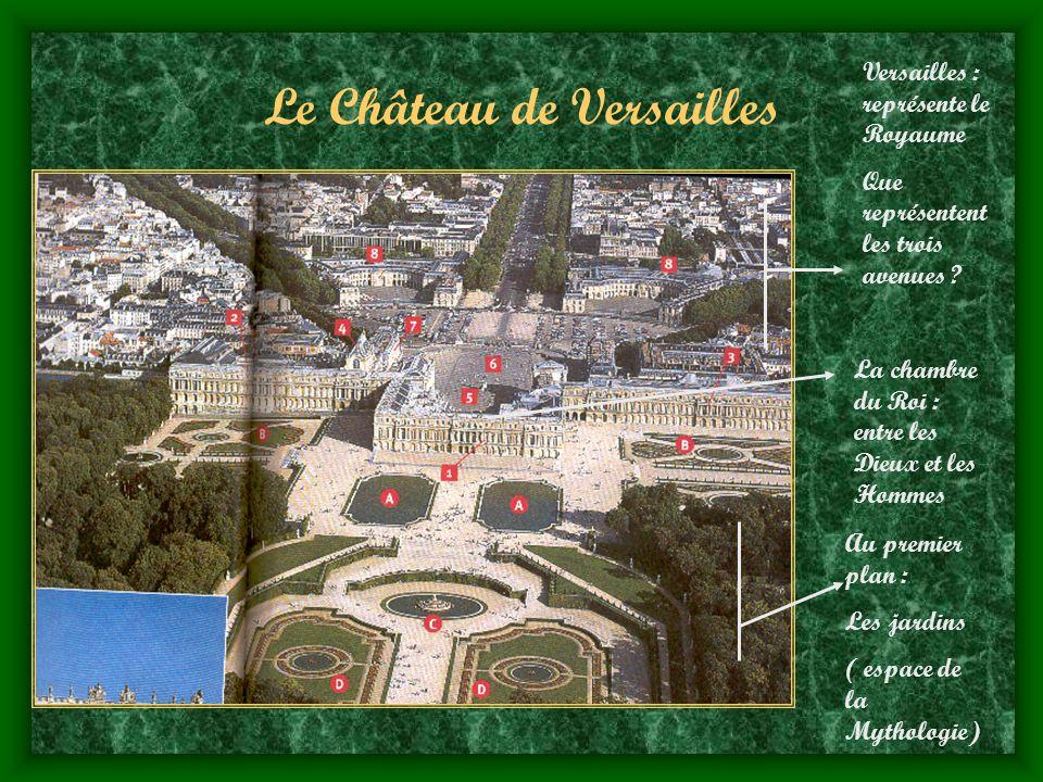 Le Château de Versailles Au premier plan : Les jardins ( espace de la Mythologie) La chambre du Roi : entre les Dieux et les Hommes Versailles : représente le Royaume Que représentent les trois avenues ?