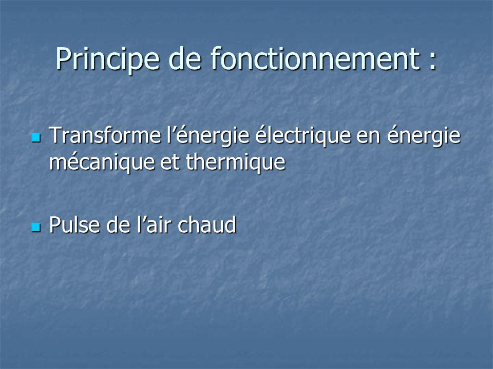 Principe de fonctionnement : Transforme lénergie électrique en énergie mécanique et thermique Transforme lénergie électrique en énergie mécanique et t