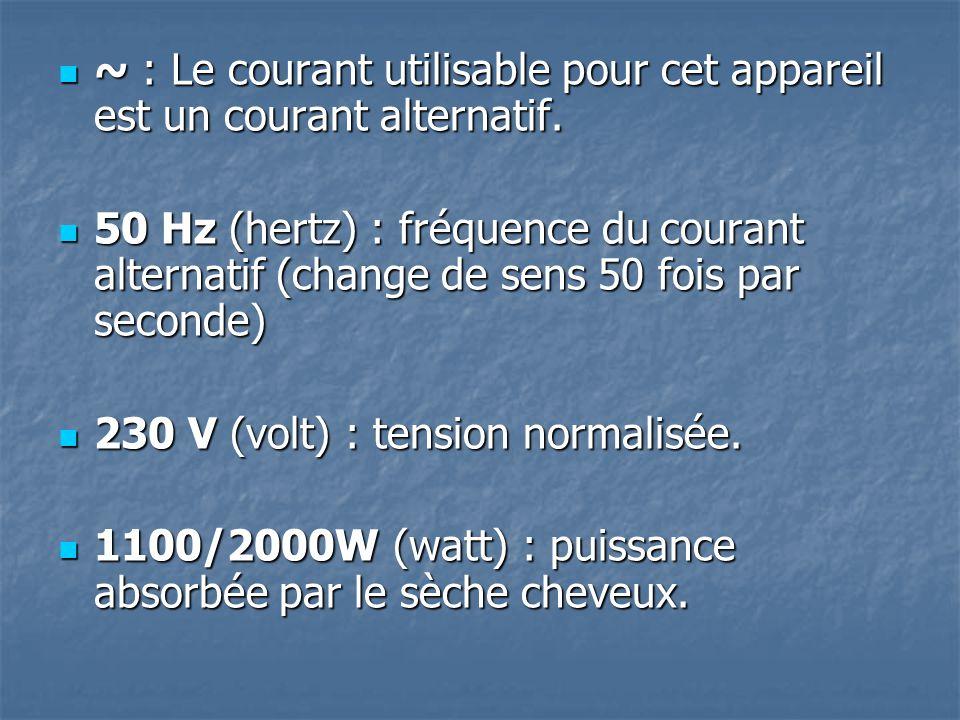 ~ : Le courant utilisable pour cet appareil est un courant alternatif. ~ : Le courant utilisable pour cet appareil est un courant alternatif. 50 Hz (h