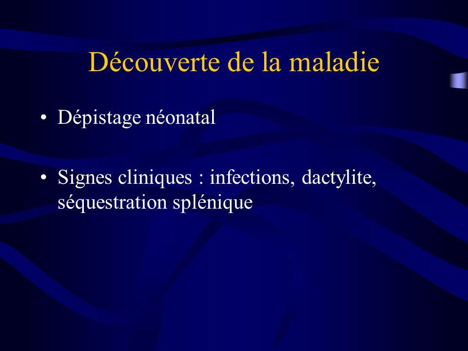 Découverte de la maladie Dépistage néonatal Signes cliniques : infections, dactylite, séquestration splénique