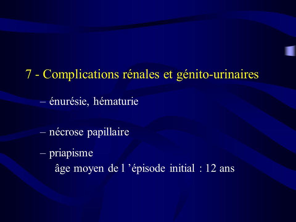 7 - Complications rénales et génito-urinaires –énurésie, hématurie –nécrose papillaire –priapisme âge moyen de l épisode initial : 12 ans