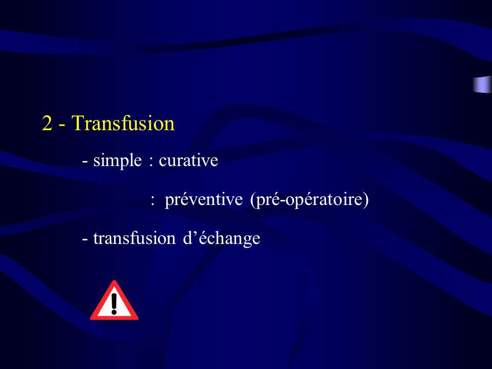 2 - Transfusion - simple : curative : préventive (pré-opératoire) - transfusion déchange