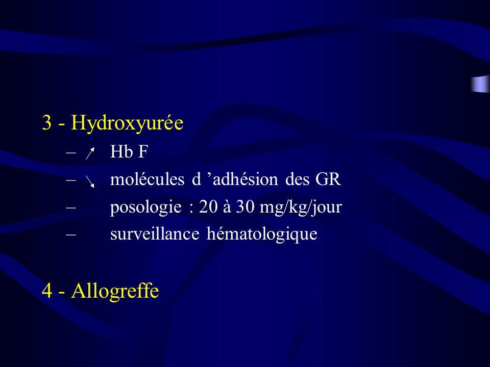 3 - Hydroxyurée – Hb F – molécules d adhésion des GR – posologie : 20 à 30 mg/kg/jour – surveillance hématologique 4 - Allogreffe