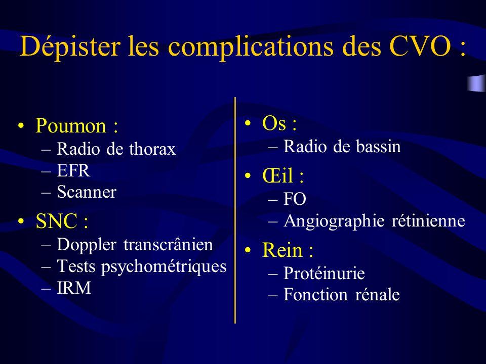 Dépister les complications des CVO : Poumon : –Radio de thorax –EFR –Scanner SNC : –Doppler transcrânien –Tests psychométriques –IRM Os : –Radio de bassin Œil : –FO –Angiographie rétinienne Rein : –Protéinurie –Fonction rénale