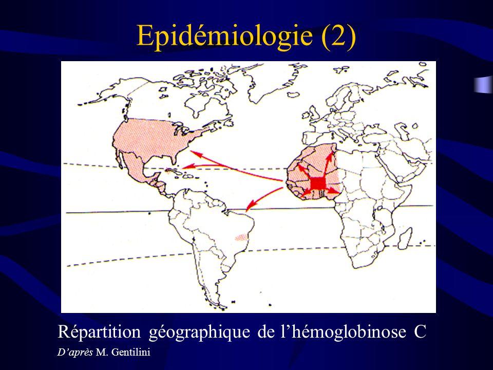 Epidémiologie (2) Répartition géographique de lhémoglobinose C Daprès M. Gentilini