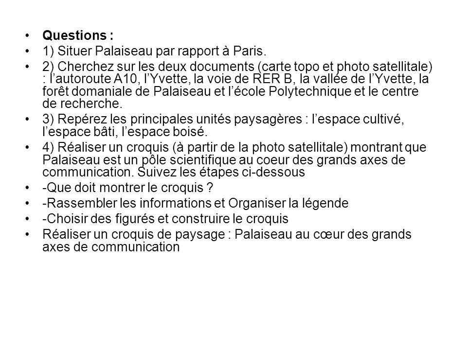 Questions : 1) Situer Palaiseau par rapport à Paris. 2) Cherchez sur les deux documents (carte topo et photo satellitale) : lautoroute A10, lYvette, l