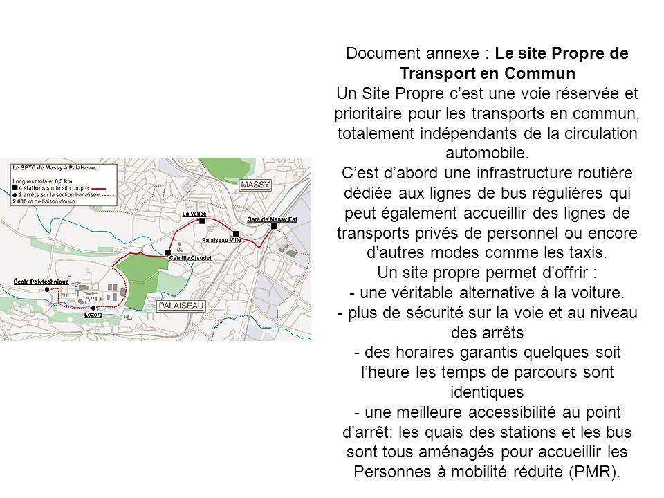 Document annexe : Le site Propre de Transport en Commun Un Site Propre cest une voie réservée et prioritaire pour les transports en commun, totalement indépendants de la circulation automobile.