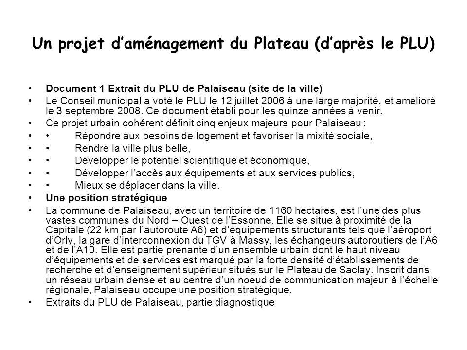 Un projet daménagement du Plateau (daprès le PLU) Document 1 Extrait du PLU de Palaiseau (site de la ville) Le Conseil municipal a voté le PLU le 12 j