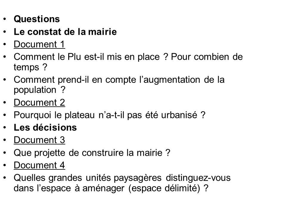 Questions Le constat de la mairie Document 1 Comment le Plu est-il mis en place ? Pour combien de temps ? Comment prend-il en compte laugmentation de