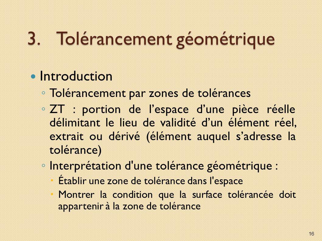 3.Tolérancement géométrique Introduction Tolérancement par zones de tolérances ZT : portion de lespace dune pièce réelle délimitant le lieu de validité dun élément réel, extrait ou dérivé (élément auquel sadresse la tolérance) Interprétation d une tolérance géométrique : Établir une zone de tolérance dans l espace Montrer la condition que la surface tolérancée doit appartenir à la zone de tolérance 16