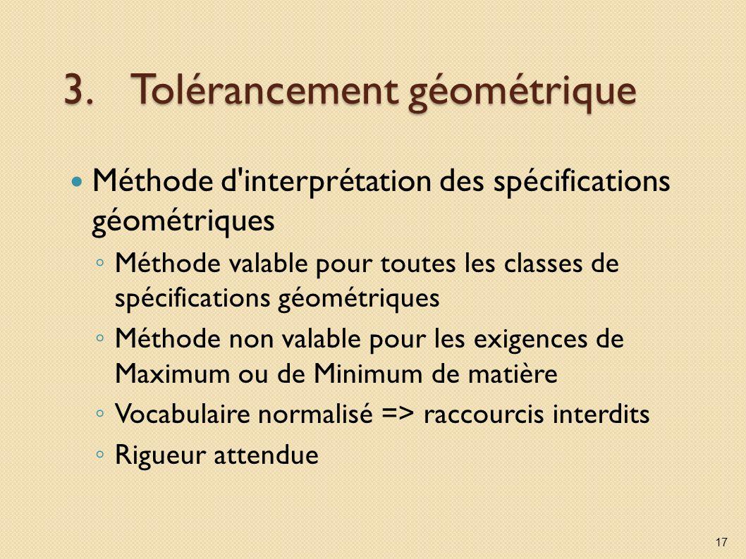 3.Tolérancement géométrique Méthode d'interprétation des spécifications géométriques Méthode valable pour toutes les classes de spécifications géométr