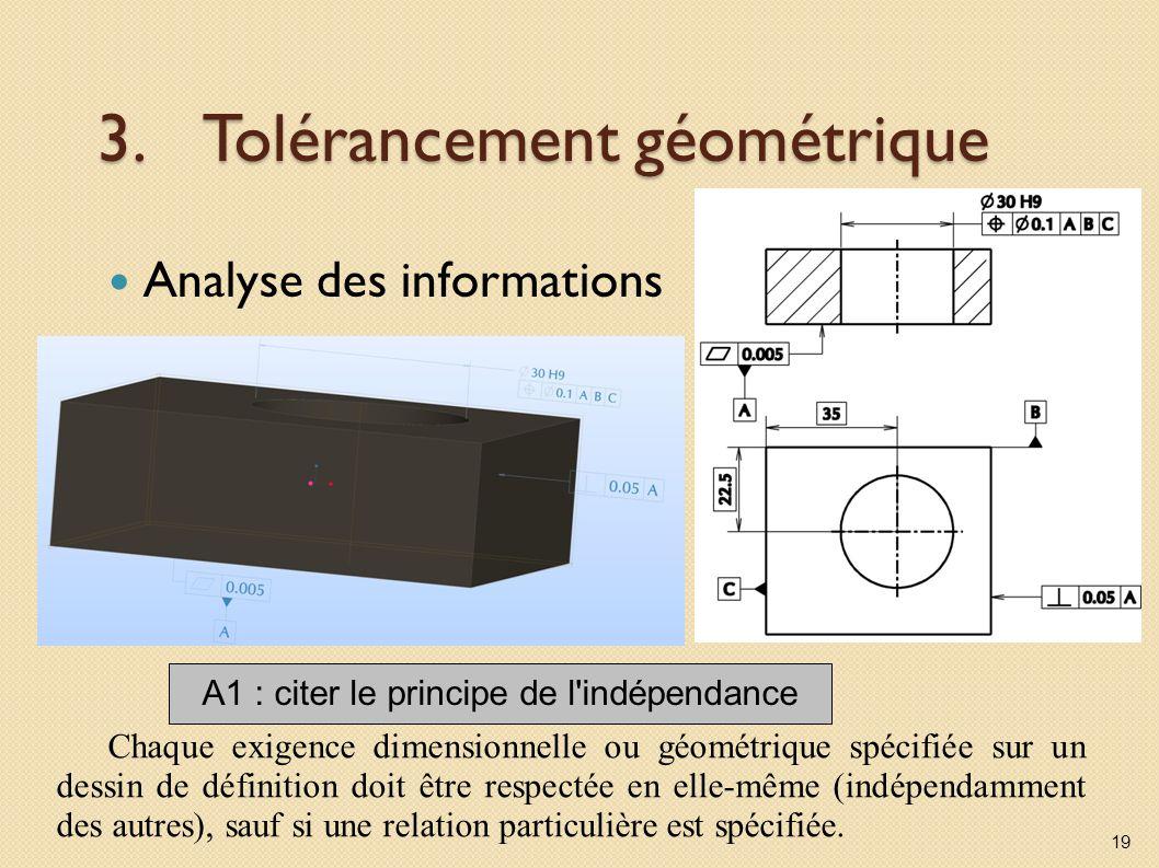 3.Tolérancement géométrique Analyse des informations 19 A1 : citer le principe de l indépendance Chaque exigence dimensionnelle ou géométrique spécifiée sur un dessin de définition doit être respectée en elle-même (indépendamment des autres), sauf si une relation particulière est spécifiée.