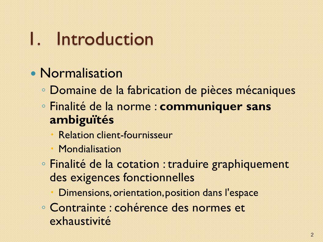 1.Introduction Normalisation Domaine de la fabrication de pièces mécaniques Finalité de la norme : communiquer sans ambiguïtés Relation client-fournis