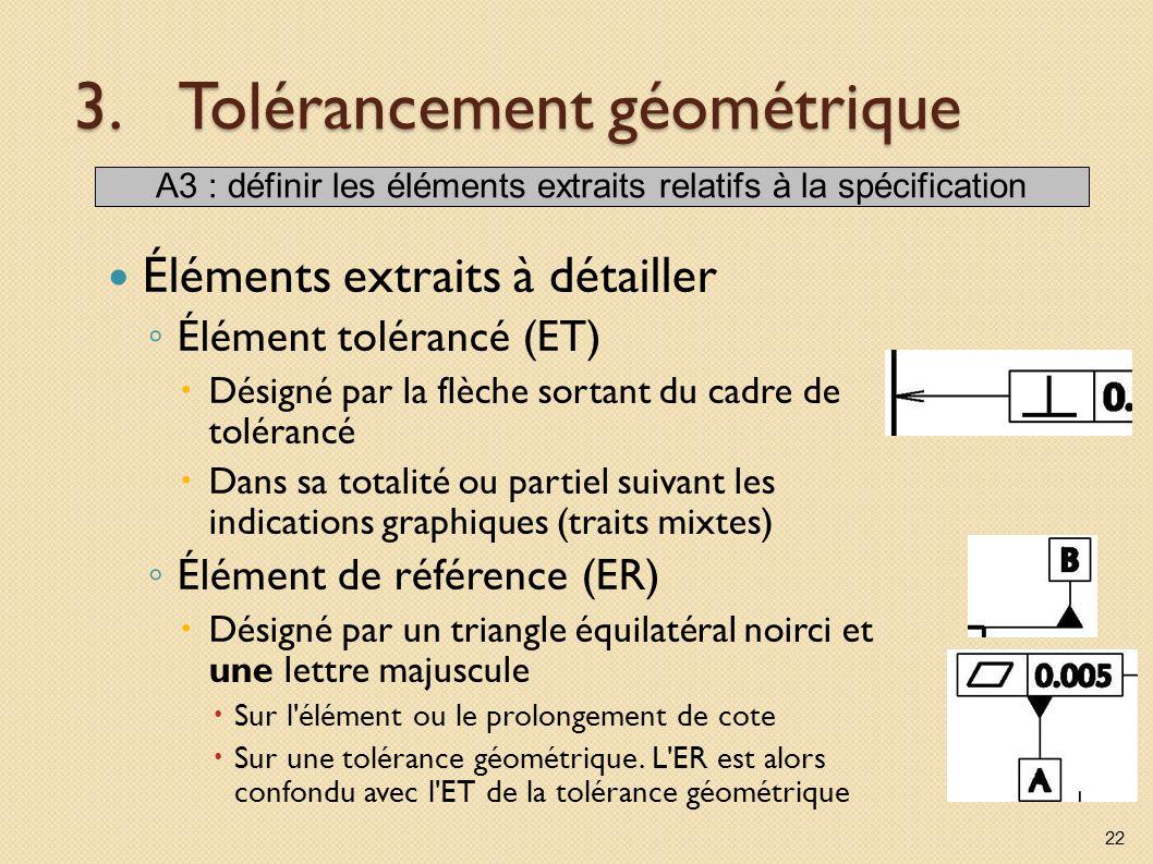 3.Tolérancement géométrique Éléments extraits à détailler Élément tolérancé (ET) Désigné par la flèche sortant du cadre de tolérancé Dans sa totalité