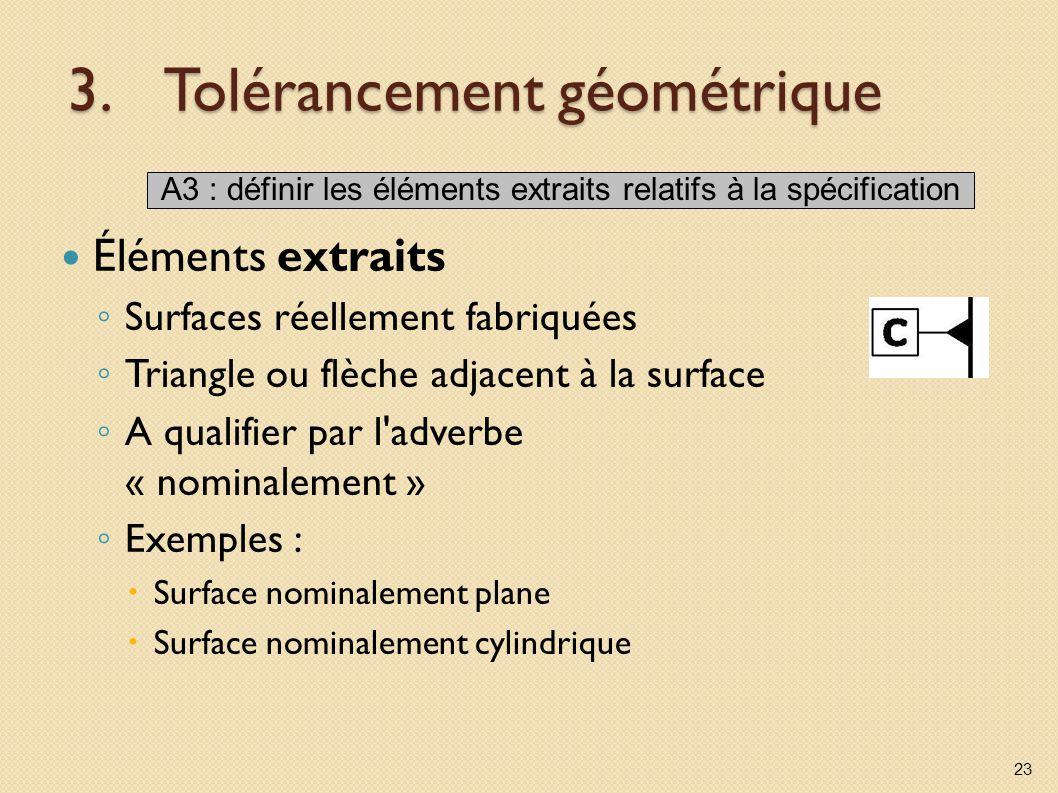 3.Tolérancement géométrique Éléments extraits Surfaces réellement fabriquées Triangle ou flèche adjacent à la surface A qualifier par l'adverbe « nomi