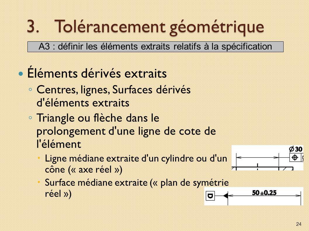 3.Tolérancement géométrique Éléments dérivés extraits Centres, lignes, Surfaces dérivés d'éléments extraits Triangle ou flèche dans le prolongement d'