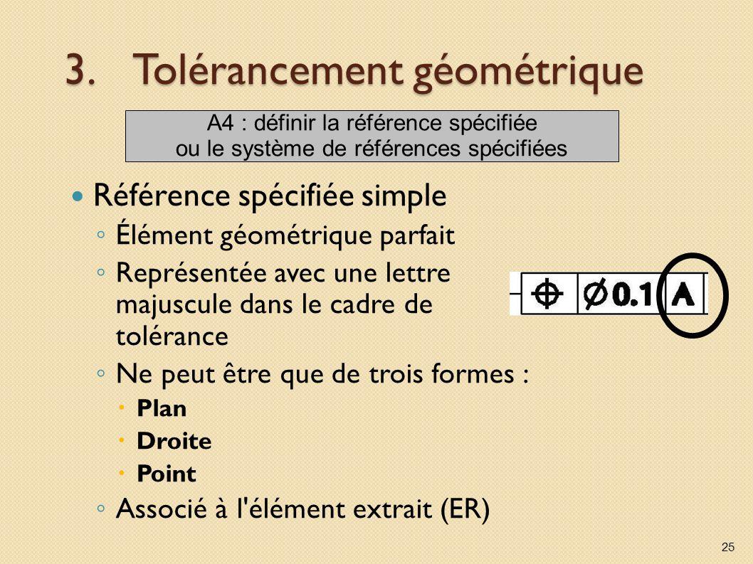 3.Tolérancement géométrique Référence spécifiée simple Élément géométrique parfait Représentée avec une lettre majuscule dans le cadre de tolérance Ne