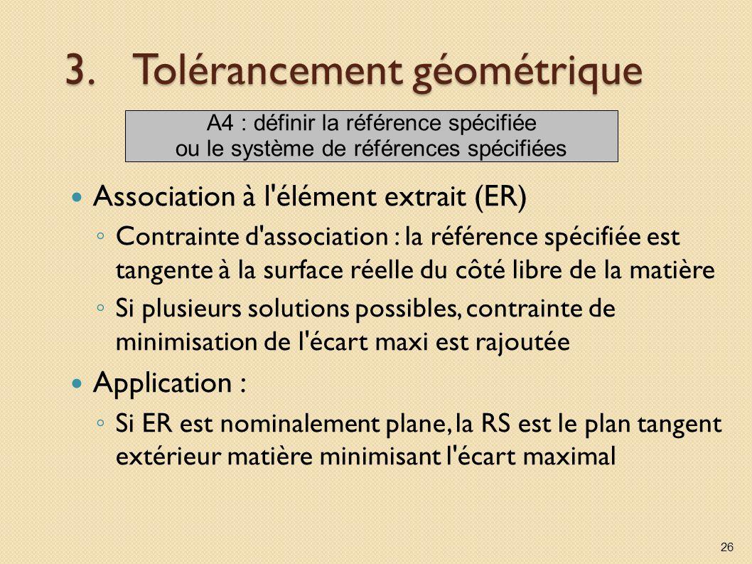3.Tolérancement géométrique Association à l élément extrait (ER) Contrainte d association : la référence spécifiée est tangente à la surface réelle du côté libre de la matière Si plusieurs solutions possibles, contrainte de minimisation de l écart maxi est rajoutée Application : Si ER est nominalement plane, la RS est le plan tangent extérieur matière minimisant l écart maximal 26 A4 : définir la référence spécifiée ou le système de références spécifiées