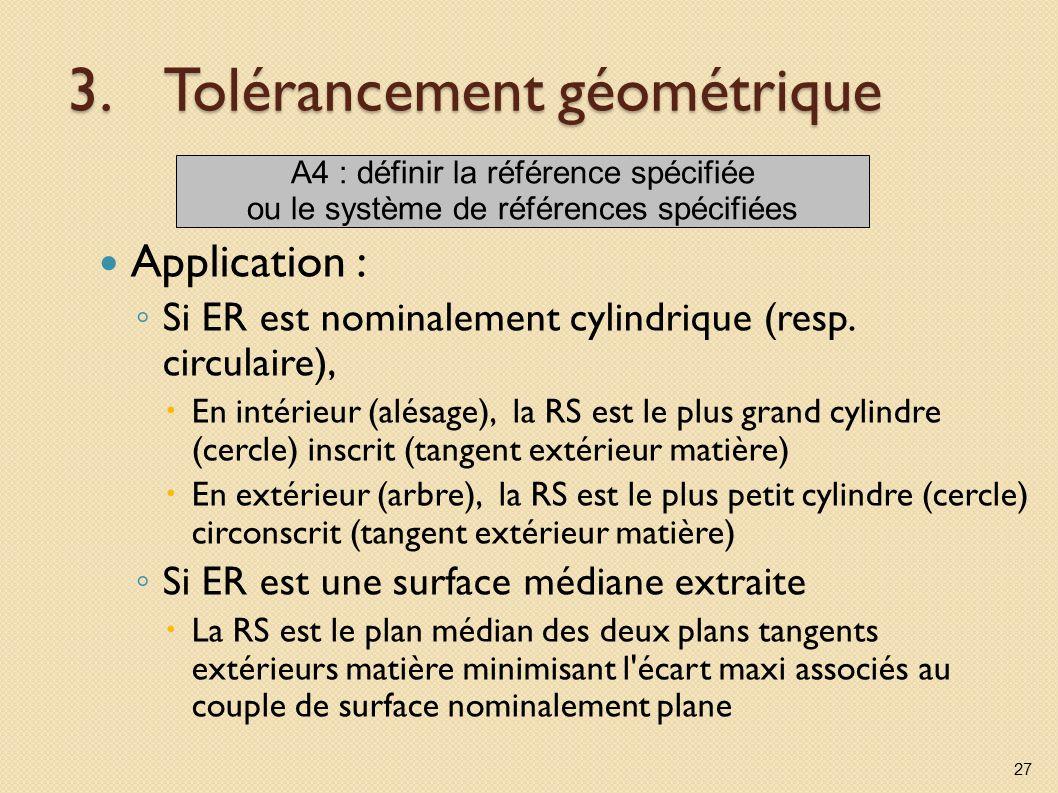 3.Tolérancement géométrique Application : Si ER est nominalement cylindrique (resp. circulaire), En intérieur (alésage), la RS est le plus grand cylin