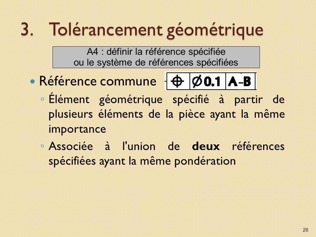 3.Tolérancement géométrique Référence commune Élément géométrique spécifié à partir de plusieurs éléments de la pièce ayant la même importance Associée à l union de deux références spécifiées ayant la même pondération 28 A4 : définir la référence spécifiée ou le système de références spécifiées